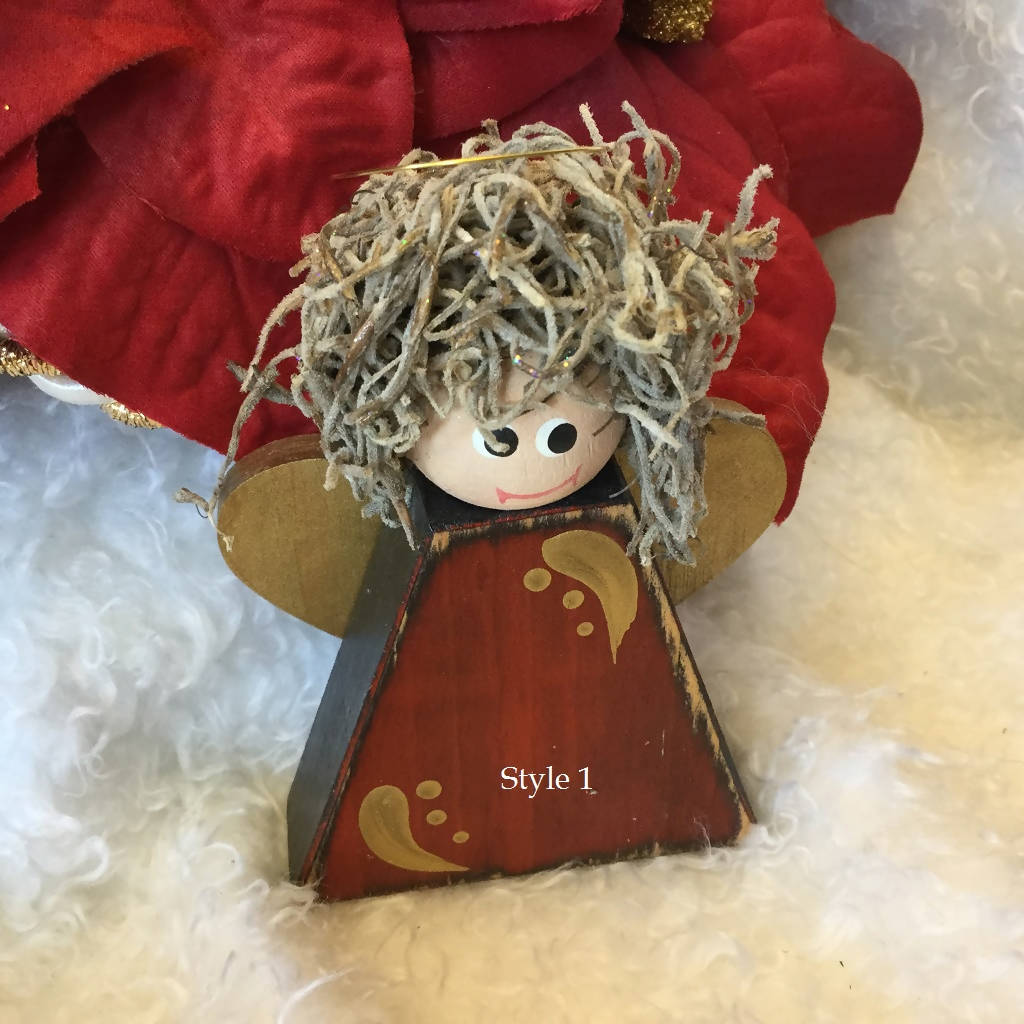 Wood Angel Holiday Ornaments - Red