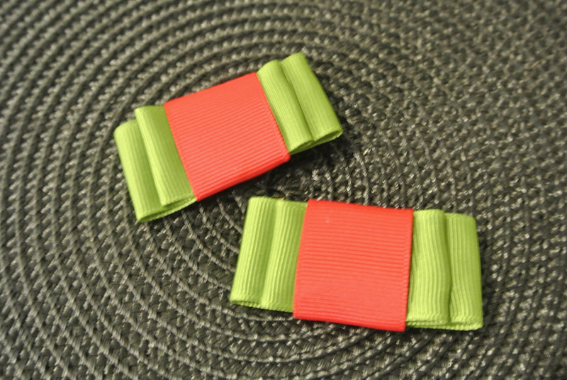 Green & Red Hair Clip Bows - Set of 2