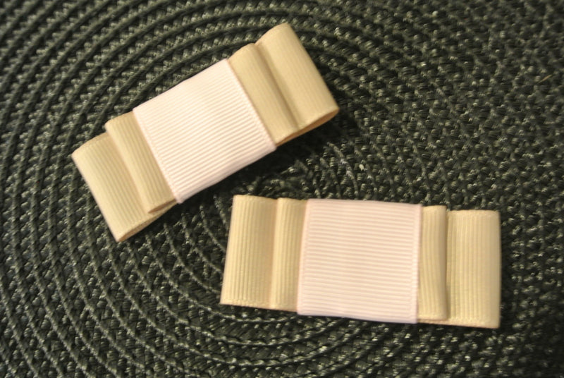 Gold & Soft Pink Hair Clip Bows - Set of 2