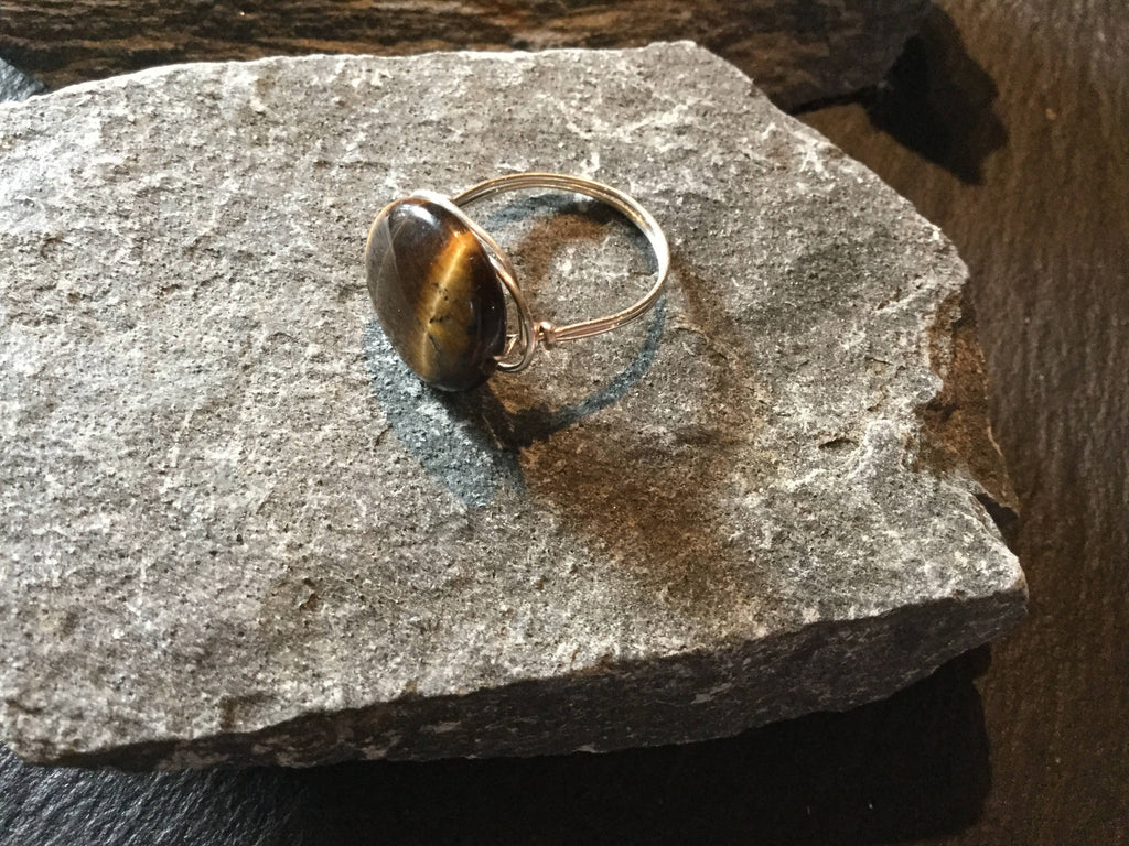 Tiger Eye Natural Gemstone Hand Twisted Silver Ring Size 5