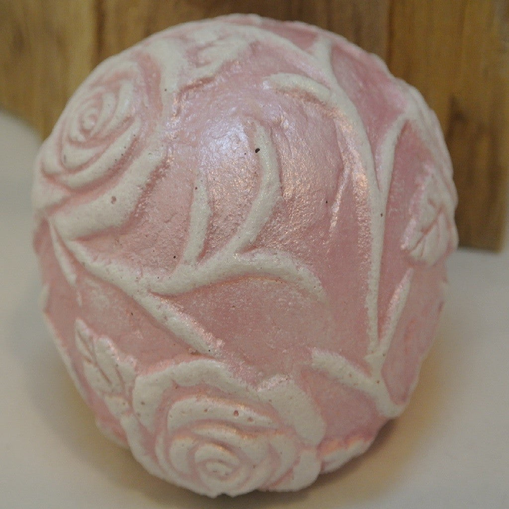 Cement Rose Vine Ball - Pearl Pink
