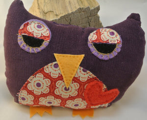 Purple Corduroy Stuffed Owl with Floral Accents