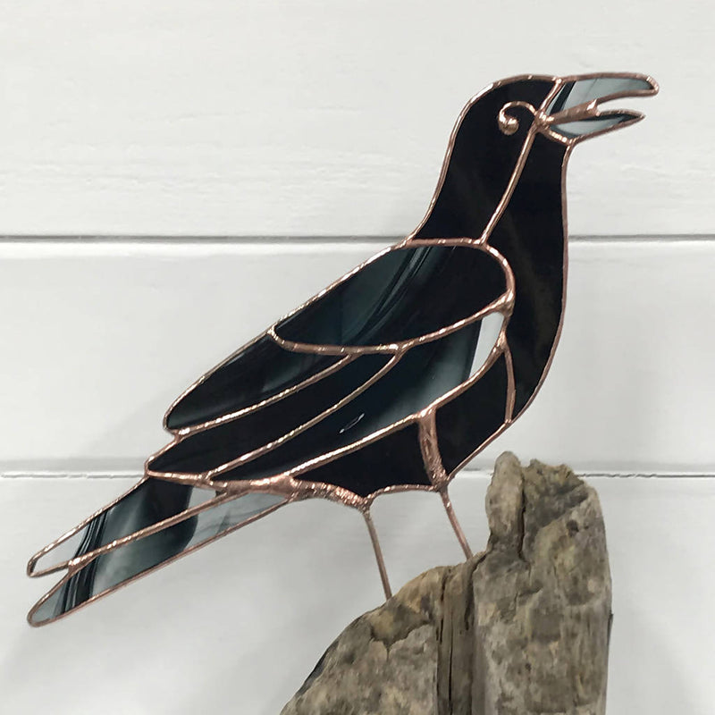 Stained Glass Bird on Driftwood - Crow