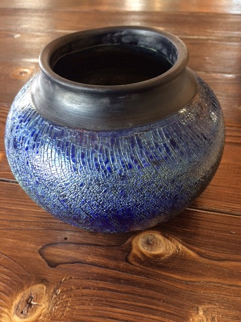 Blue & Black Raku Pottery Vase