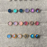 8mm Druzy Geode / Resin Stud Earrings - Stainless Steel