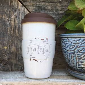 Thankful Grateful Cream and Brown Clay Travel Mug
