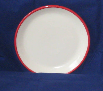 Pottery Serving Plate with Red Rim
