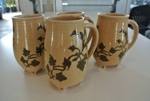Pottery Mugs with Ivy Vines