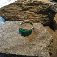 5-Stone Green Onyx Natural Gemstone Hand Twisted Sterling Silver Ring Size 10