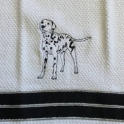 Waffle Tea Towels White Embroidered Dog Themed