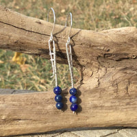 Lapis Lazuli Gemstone Argentium Sterling Silver Earrings