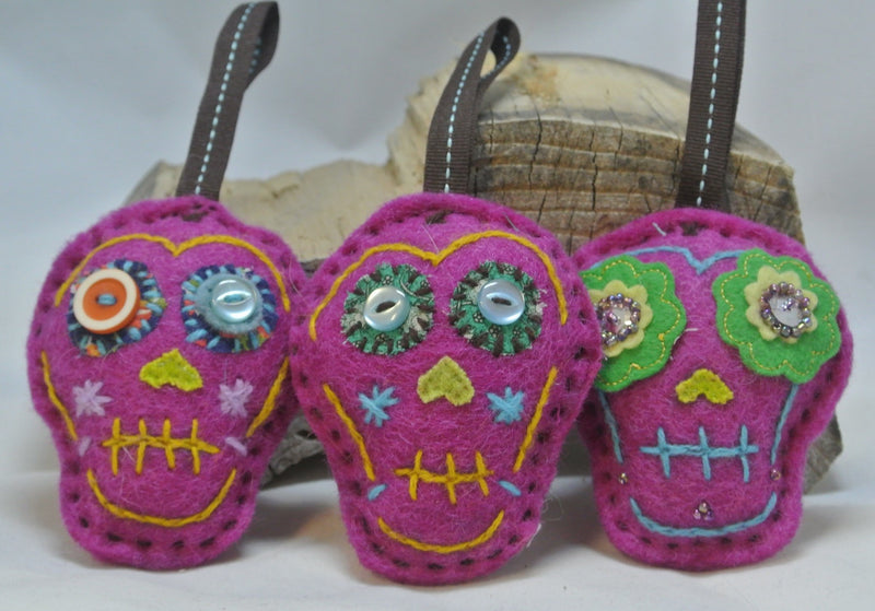 Sugar Skull Ornament - Purple