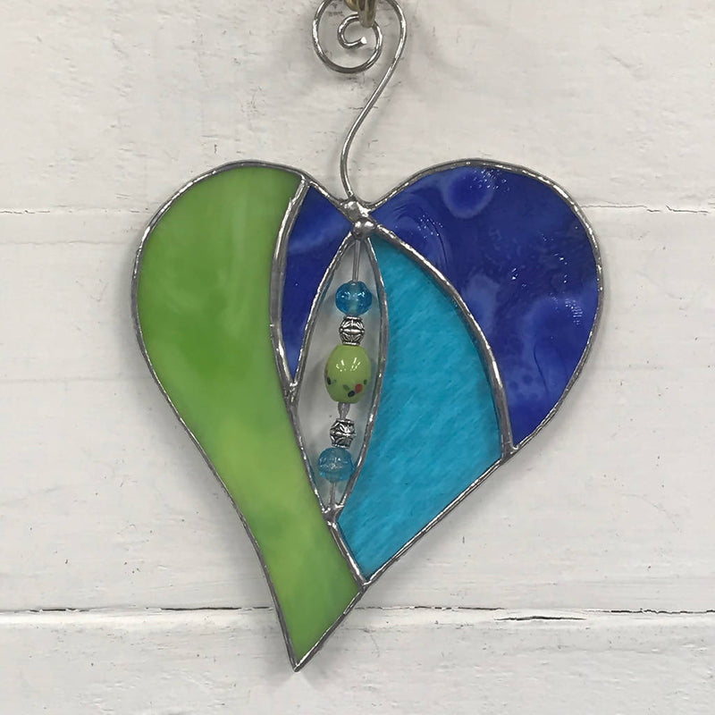 Stained Glass Heart Suncatcher with Beaded Centre