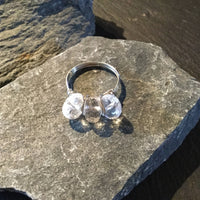 Crystal Quartz Natural Gemstone Hand Twister Sterling Silver Ring Size 7