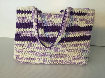 Crocheted Recycled Plastic Tote Bag Purple Lightweight