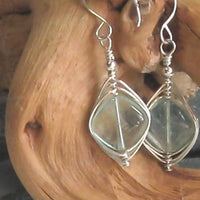 Fluorite Gemstone Argentium Sterling Silver Earrings