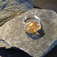 Citrine Natural Gemstone Hand Twisted Sterling Silver Ring Size 8