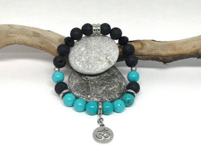 Turquoise Gemstone Essential Oil Bracelet with Ohm Charm