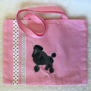 Embroidered Lined Fabric Tote Bags - Dog Themes - Sml