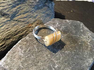 Honey Tiger Eye Natural Gemstone Hand Twisted Sterling silver Ring Size 8