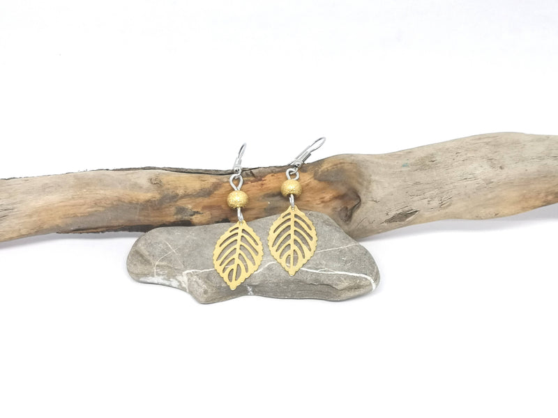 Leaf Earrings - Gold Tone