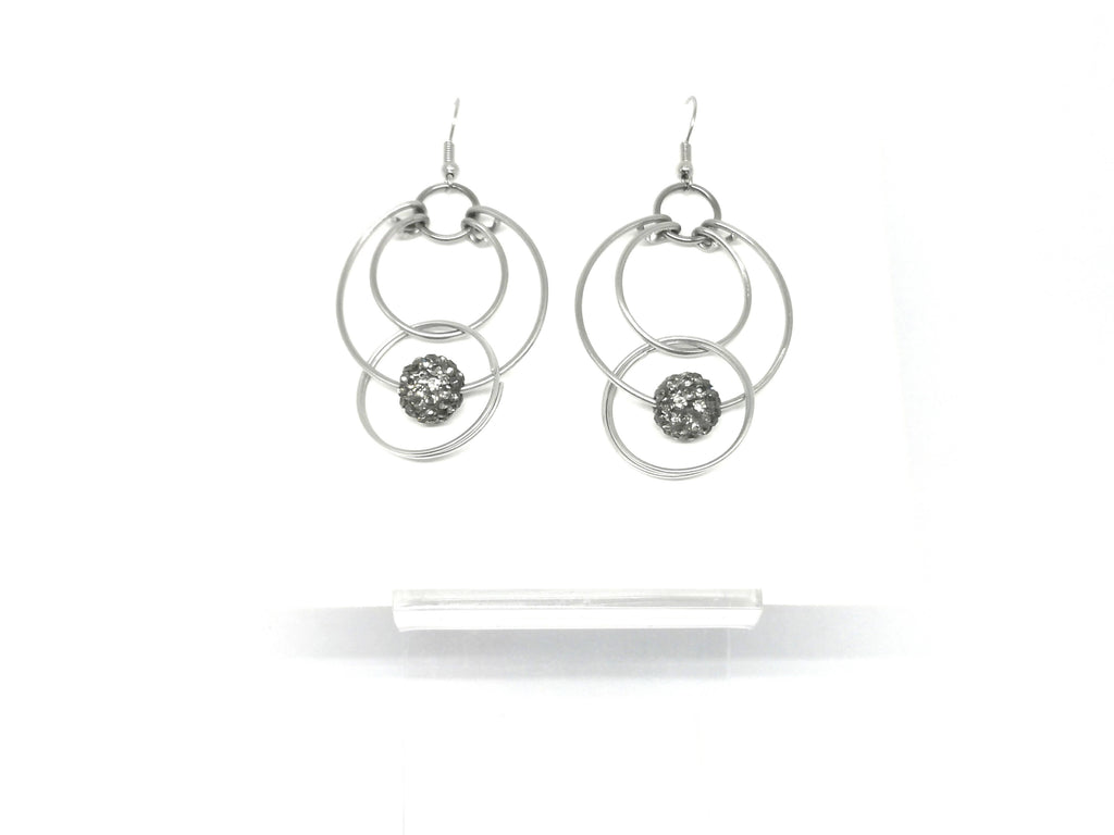 Pave Sparkle Bead Hoop Earrings Silver Tone