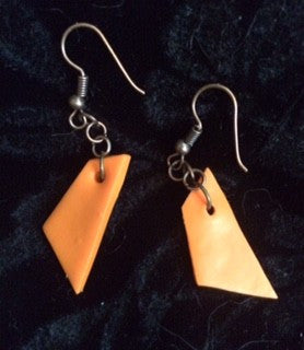 Orange Geometric Fish Hook Earrings