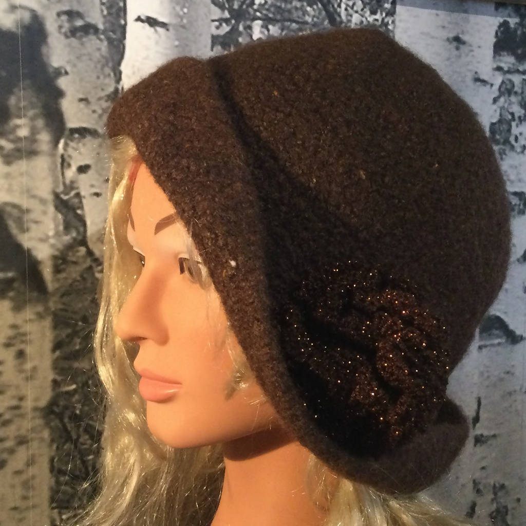 Hand Felted Wool Flapper Style Hat with Flower - Chestnut Brown
