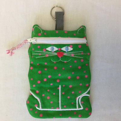 Fabric Embroidered Pouch with Zipper - Krazy Katz