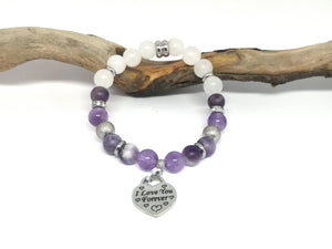 White Jade & Amethyst I Love You Forever Bracelet
