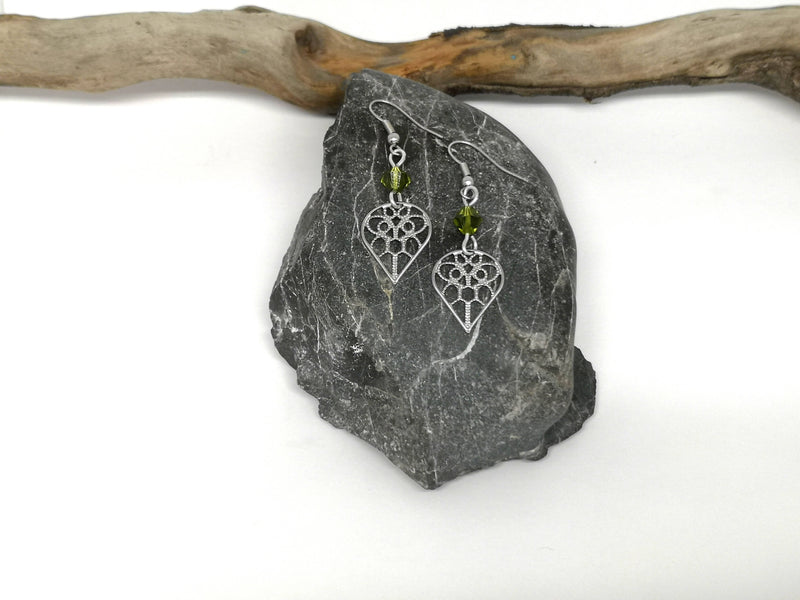 Filigree Heart with Green Swarovski Crystal Earrings