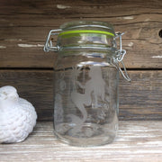 Etched Glass Stash Jar Sea-Weed