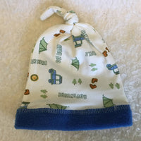 Baby Beanie Hats with Top Knot & Fleece Band