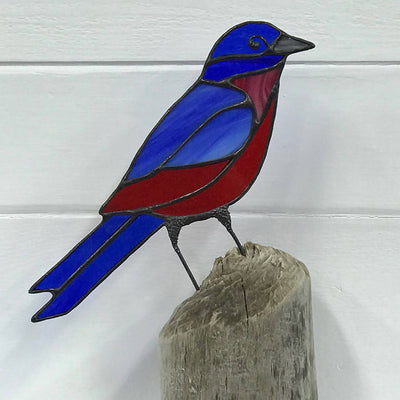 Stained Glass Bird on Driftwood - Bluebird