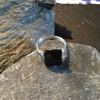 Onyx Natural Gemstone Hand Wrapped Sterling Silver Ring Size 8