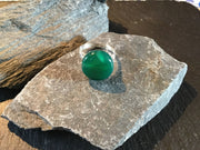 Green Onyx Natural Gemstone Hand Twisted Sterling Silver Ring Size 9