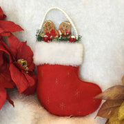 Stuffed Christmas Stocking Wall Ornament - Gingerbread Duo