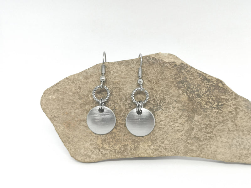 Silver Tone Disc & Twisted Ring Metal Earrings