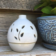 Cream Clay Egg-Shaped Tea Light Candle Holder