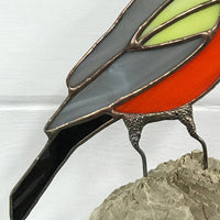 Stained Glass Bird on Driftwood Table Art - Baltimore Oriole