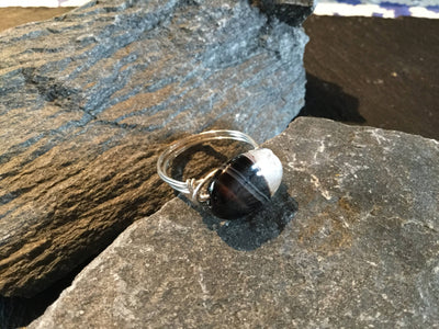 Sardonyx Natural Gemstone Hand Twisted Sterling Silver Ring Size 9