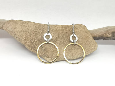 Gold and Silver Toned Double Hoop Earrings