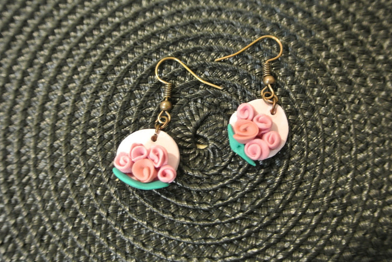 Pink Polymer Rose Bouquet Fish Hook Earrings