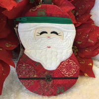 Fabric Embroidered Pouch with Zipper - Santa