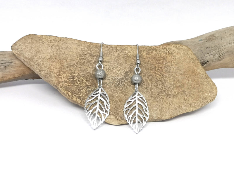 Leaf Earrings - Silver Tone