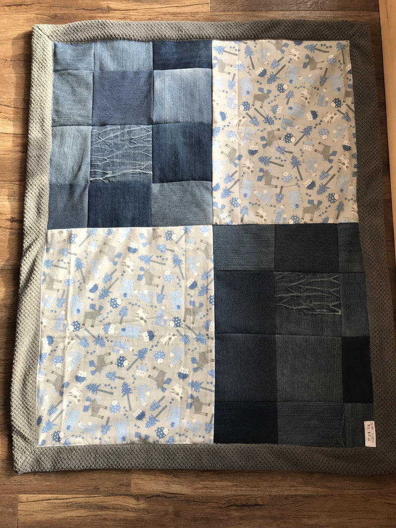 Honeycomb minky Denim baby blanket- Blue animals