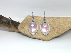 Layered Pink & Silver Metal Oval Earrings