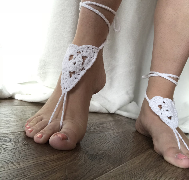 Cotton crochet barefoot sandals