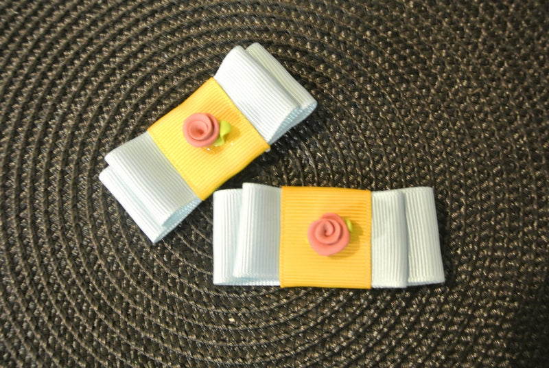Bow Hair Clips with Rose - Blue & Yellow