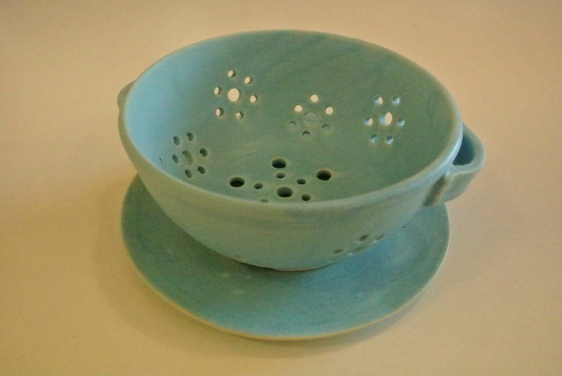 Blue pottery fruit bowl
